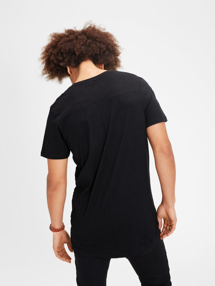 PLAIN LONGLINE T-SHIRT, Black, large
