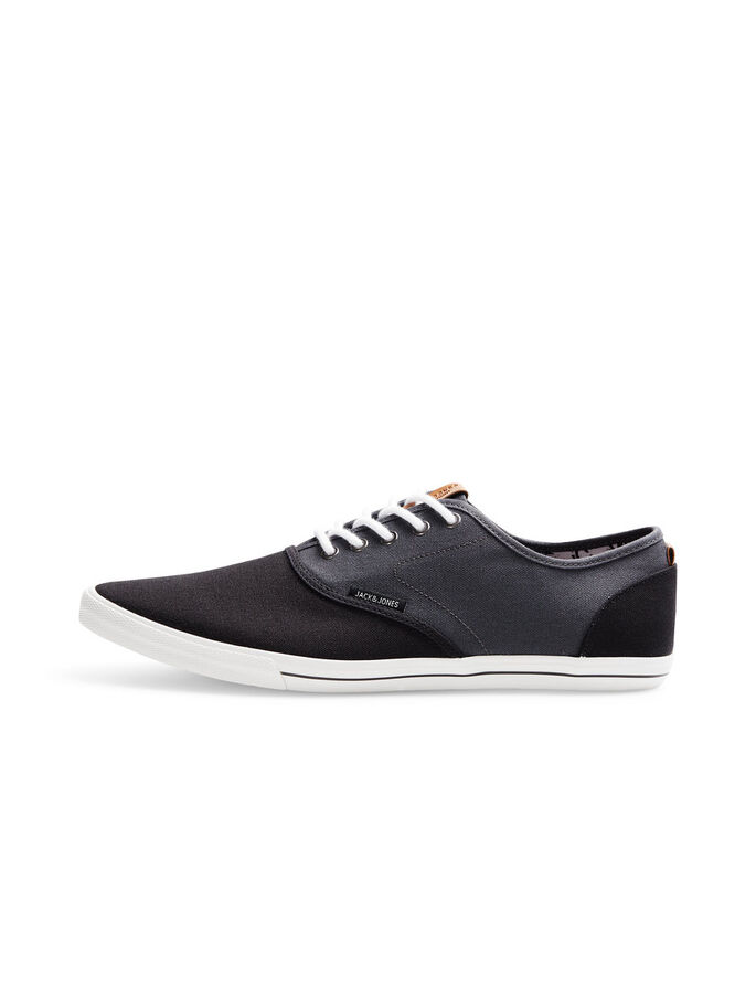 BLACK AND GREY CANVAS SNEAKERS, Asphalt, large