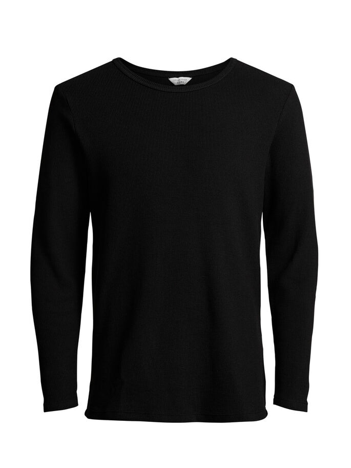 TEXTURÉ T-SHIRT À MANCHES LONGUES, Black, large