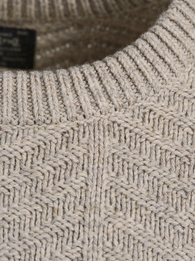 CABLE KNIT PULLOVER, Oatmeal, large
