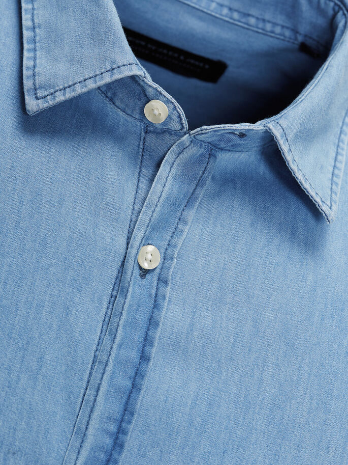 SHARP DENIM LONG SLEEVED SHIRT, Light Blue Denim, large