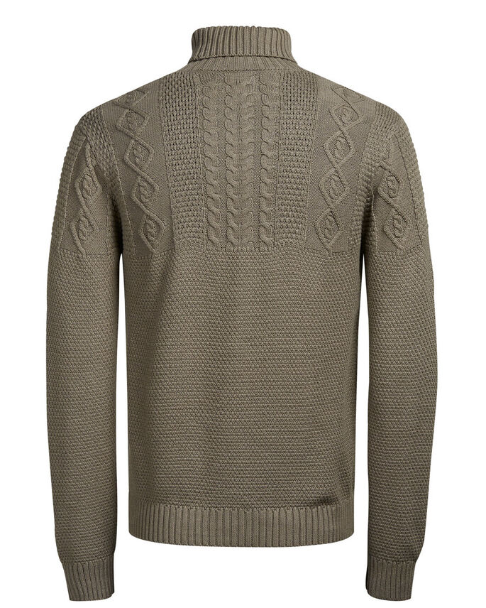 COL ROULÉ PULLOVER, Oatmeal, large