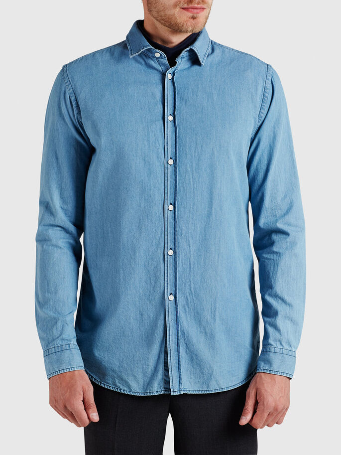 MINIMAL DENIM LONG SLEEVED SHIRT, Light Blue Denim, large