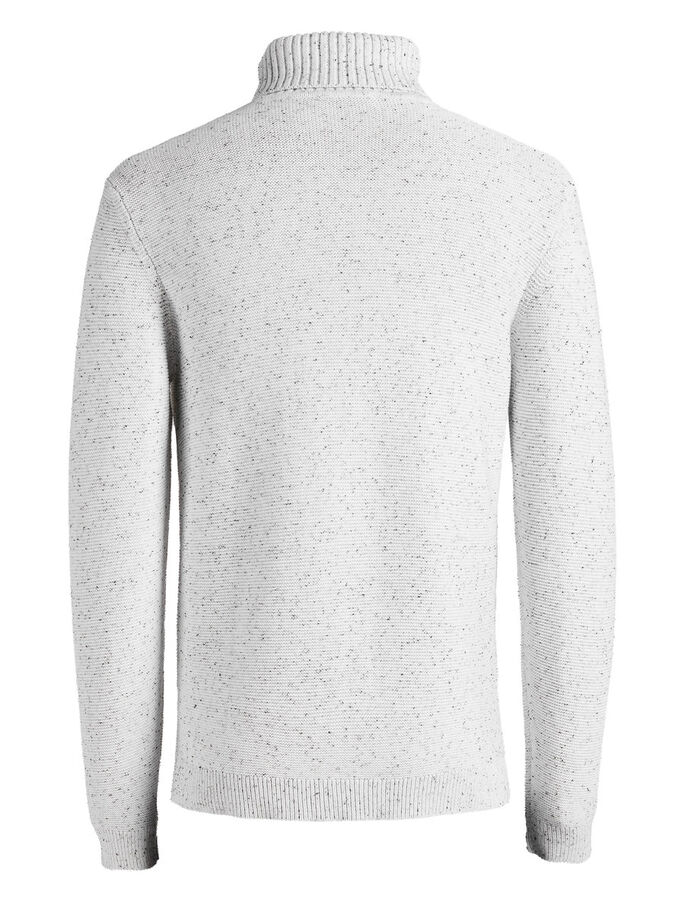 FLECKED KNITTED PULLOVER, White, large