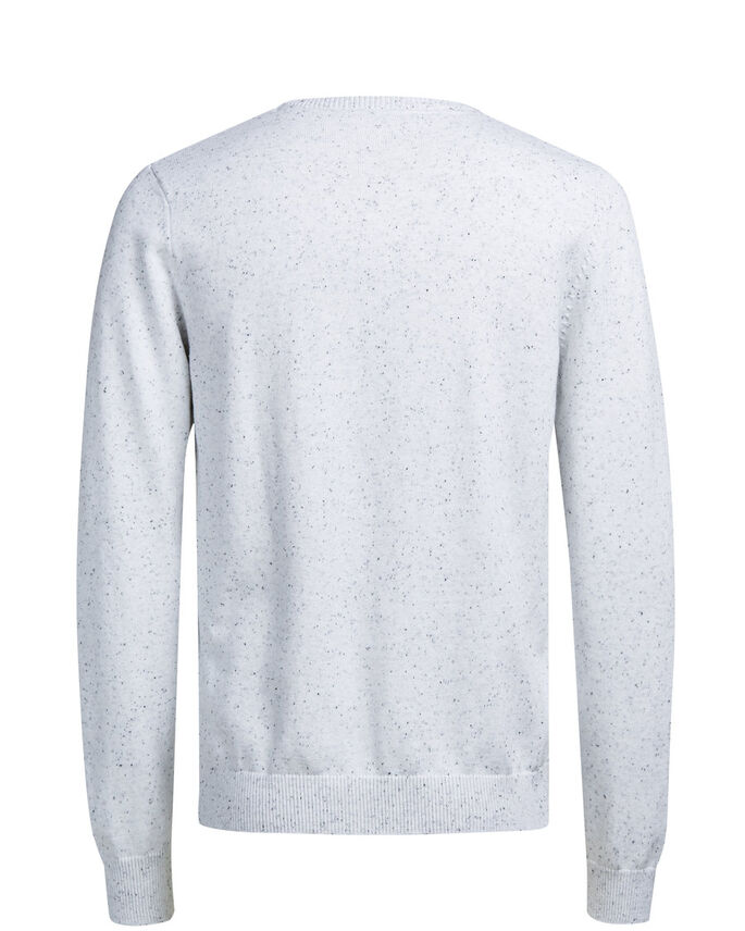 MELANGE- STRICKPULLOVER, White, large