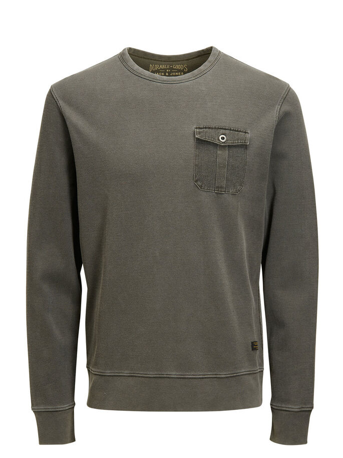MICRO STRUCTURED SWEATSHIRT, Black Olive, large