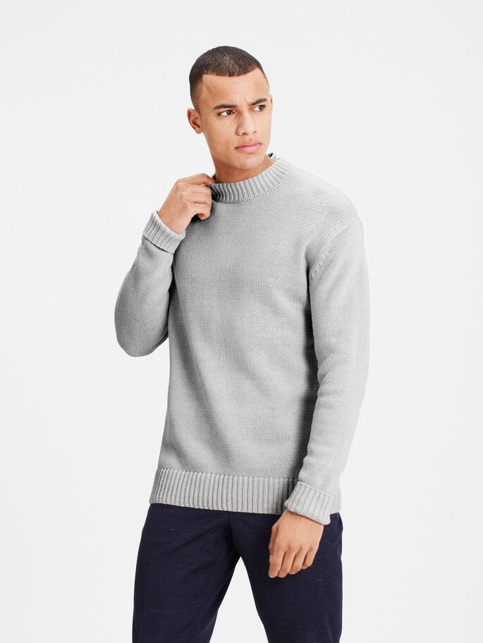 CREWNECK STRIKKET PULLOVER, Light Grey Melange, large