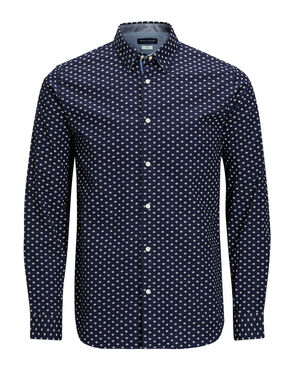 PRINTED OXFORD BUTTON-UNDER LONG SLEEVED SHIRT