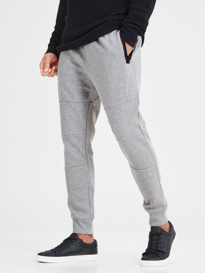TIGHT FIT SWEATBROEK, Light Grey Melange, large