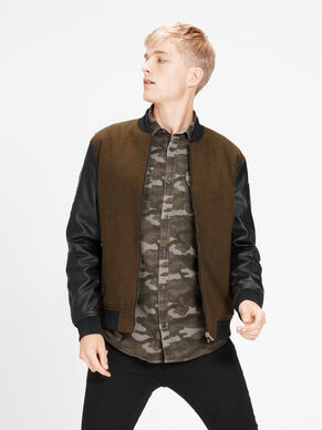 WOOL-BLEND FAUX LEATHER BOMBER JACKET