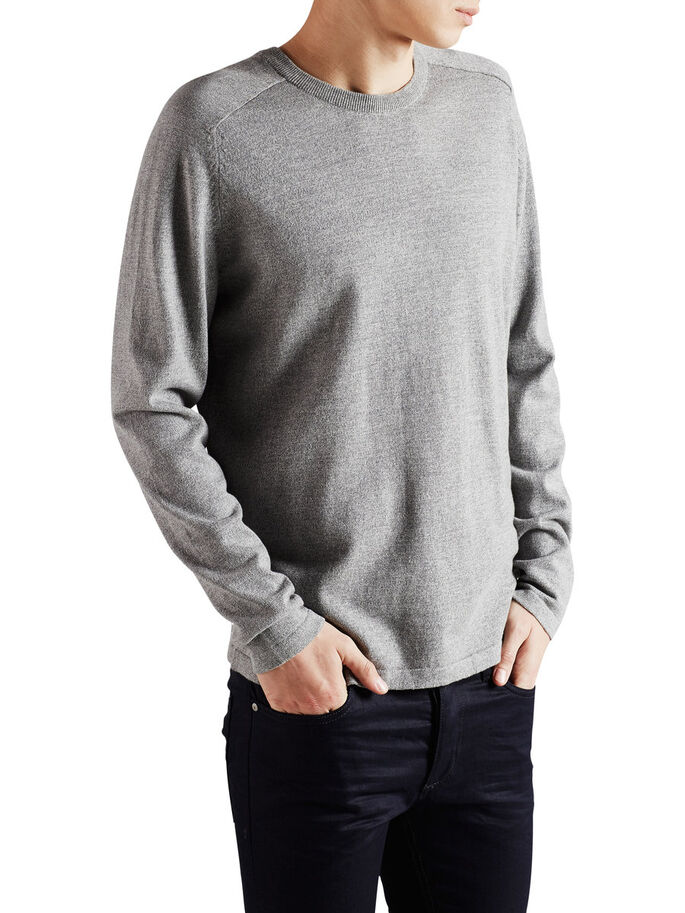 UNI PULLOVER, Light Grey Melange, large