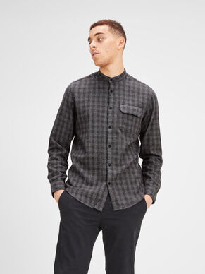 CHECK BAND COLLAR LONG SLEEVED SHIRT