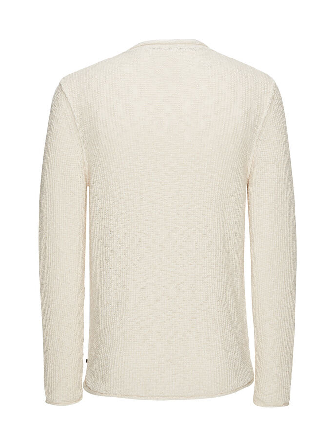 RELAXED KNITTED PULLOVER, Whisper White, large