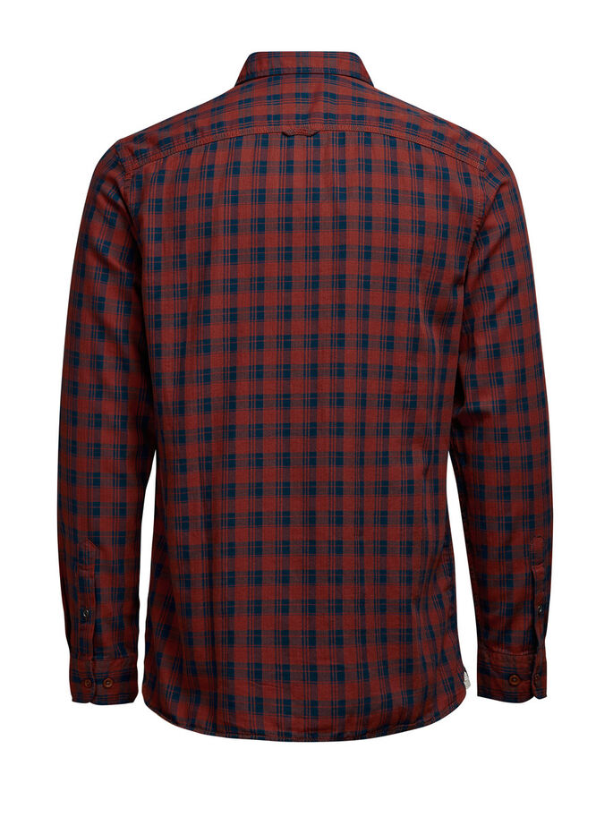 PLAID LONG SLEEVED SHIRT, Fired Brick, large