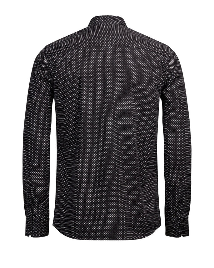 MICRO PRINT LONG SLEEVED SHIRT, Black, large