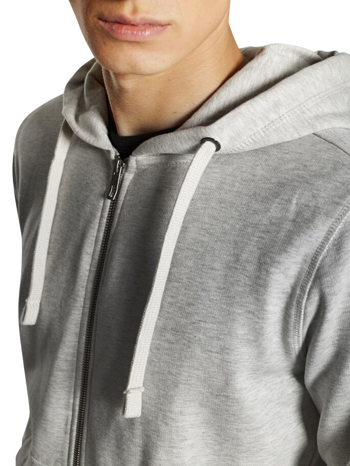 ZIPPED HOODIE, LIGHT GREY MELANGE, large