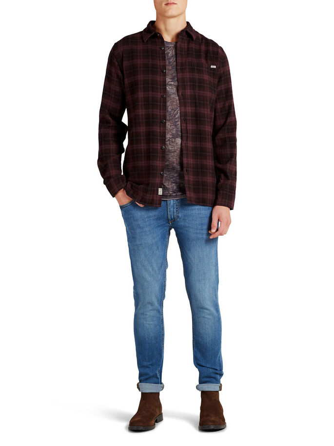 CLASSIC CHECKED LONG SLEEVED SHIRT, Rum Raisin, large