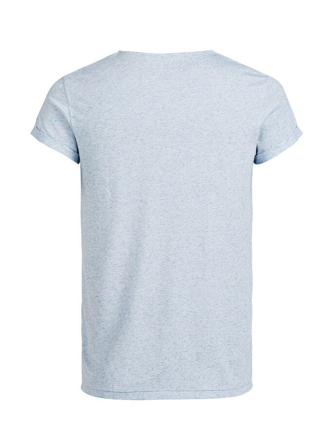 LINEN BLEND T-SHIRT, Light Blue Denim, large