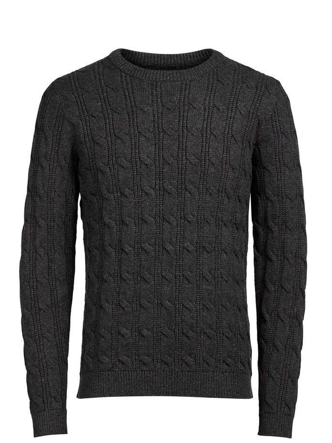 CABLE KNIT PULLOVER, Dark Grey Melange, large