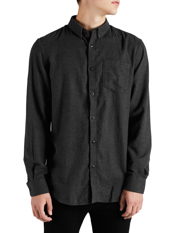 CASUAL BUTTON-DOWN CASUAL SHIRT, Black, large