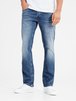 BLÅ DENIMSYDDA REGULAR FIT-JEANS