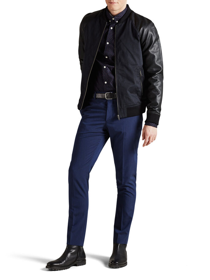 FAUX LEATHER SLEEVED BOMBER JACKET, Dark Navy, large
