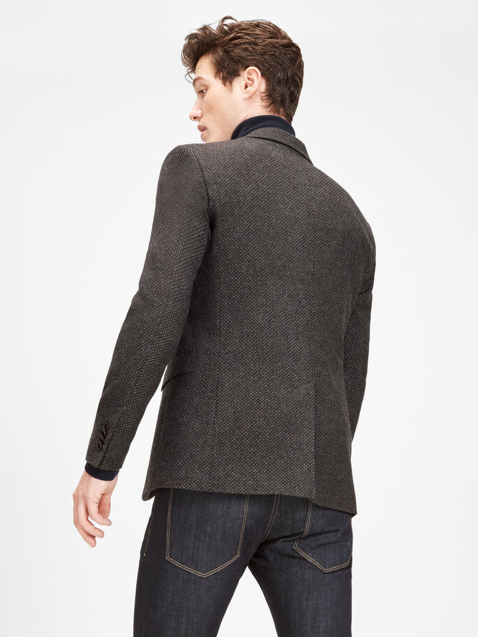 GEDESSINEERDE WOLLEN BLAZER, Brown Stone, large