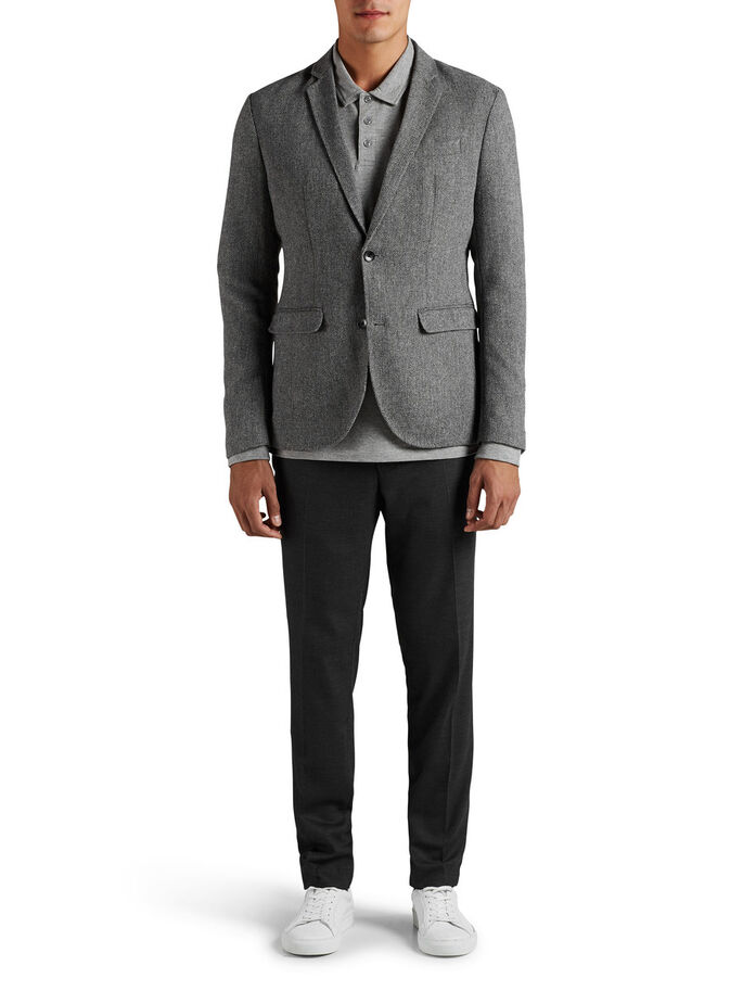 WOOL BLEND BLAZER, Dark Grey, large