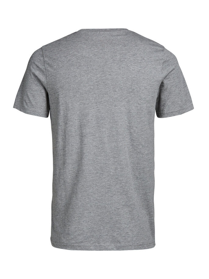 PRINTED SLIM FIT T-SHIRT, Light Grey Melange, large