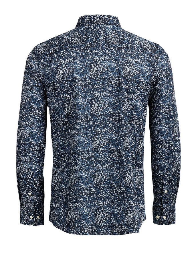 FLORAL PRINT CASUAL SHIRT, Insignia Blue, large
