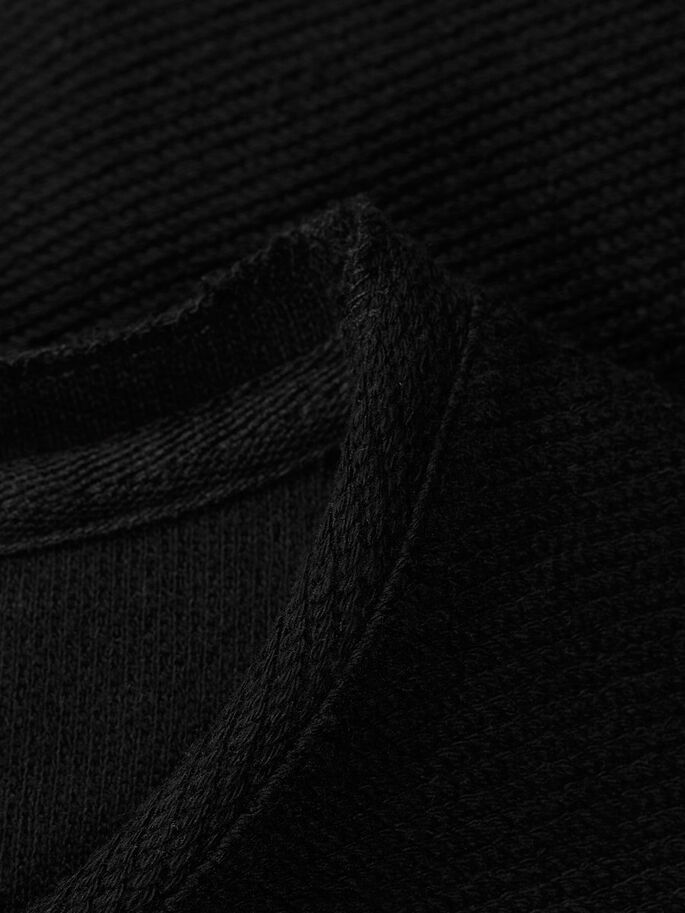 RAUES T-SHIRT MIT LANGEN ÄRMELN, Black, large