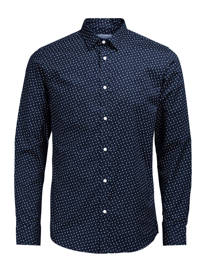PRINTED LONG SLEEVED SHIRT, Navy Blazer, large
