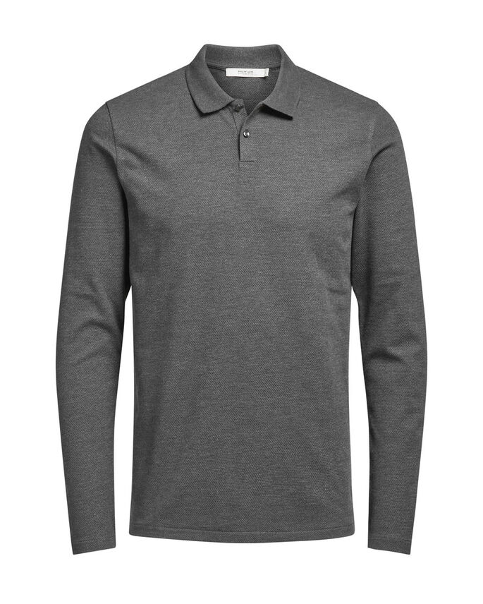 LONG SLEEVED POLO SHIRT, Dark Grey Melange, large