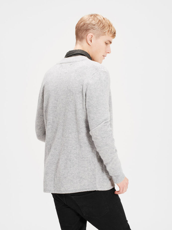 WOOL CARDIGAN, Light Grey Melange, large