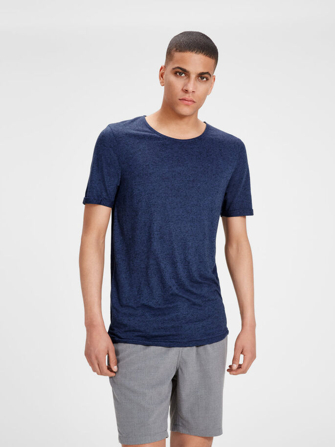 LINNENMIX T-SHIRT, Mood Indigo, large