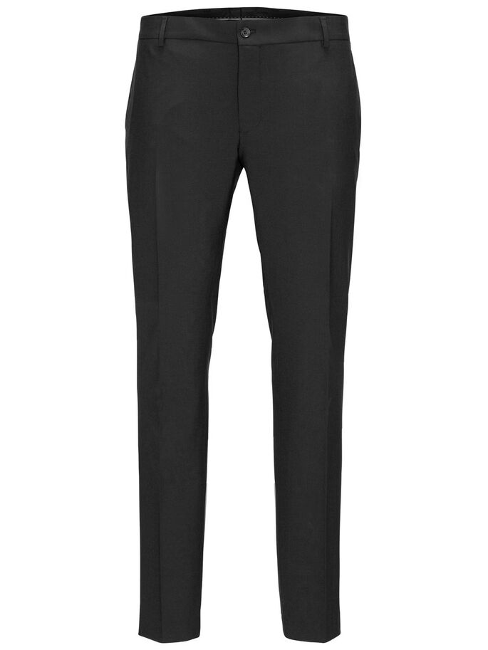 BLACK REGULAR FIT TROUSERS, Black, large