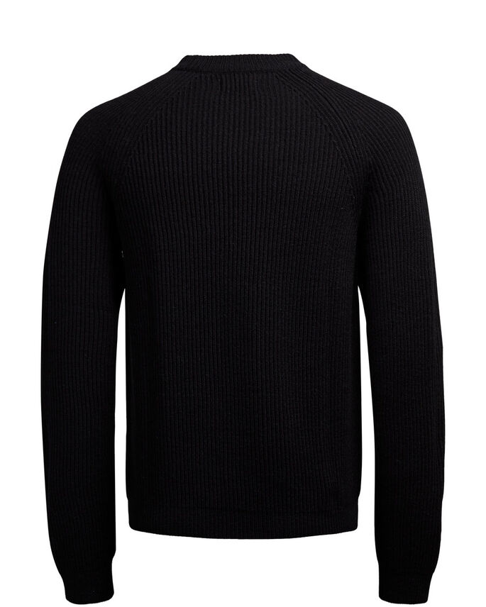 WOOL KNITTED PULLOVER, Black, large