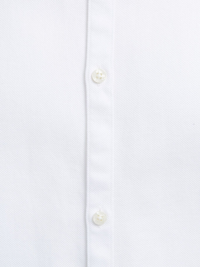 CON CUELLO MAO CAMISA DE MANGA LARGA, White, large