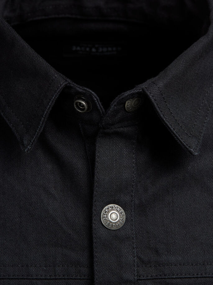 CLASSIC DENIM SHIRT, Black Denim, large