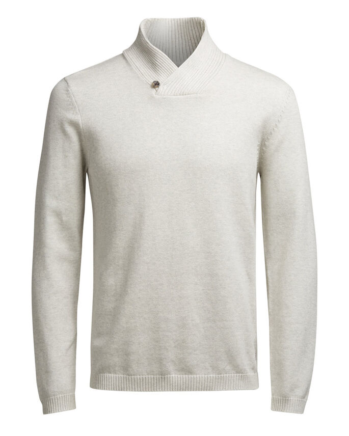 SHAWL NECK KNITTED PULLOVER, White Melange, large