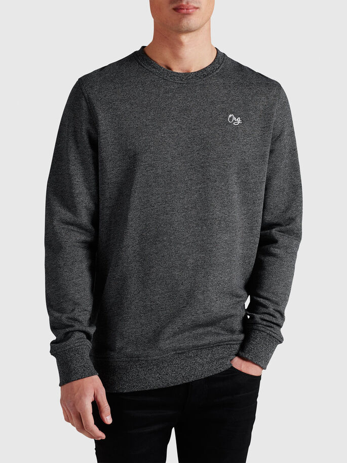 MELANGE SWEATSHIRT, Black, large