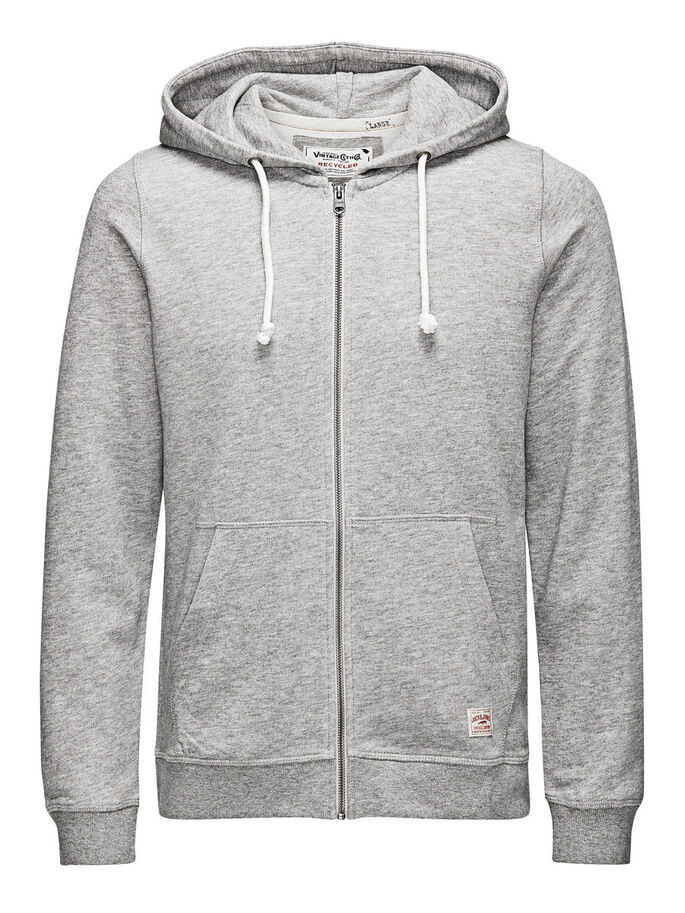 HOODED ZIP THROUGH SWEATSHIRT, Light Grey Melange, large