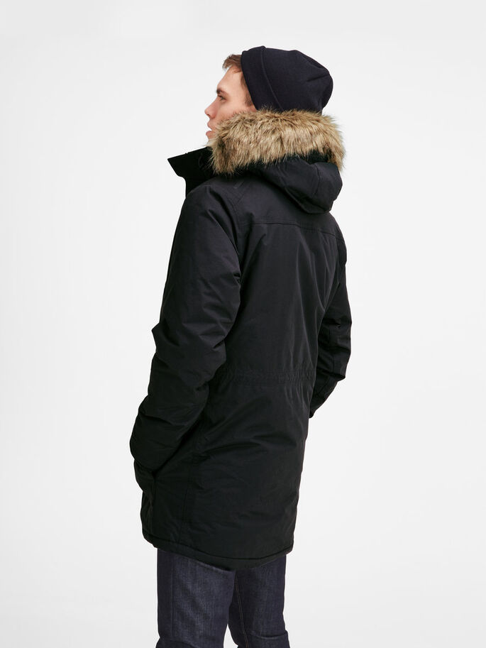 TECHNICAL PARKA PARKA COAT, Black, large