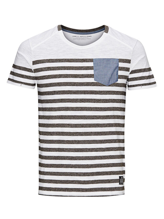 STRIPED T-SHIRT, Grey Melange, large