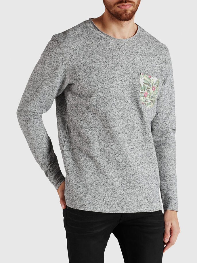 FLORAL DETAIL SWEATSHIRT, Grey Melange, large