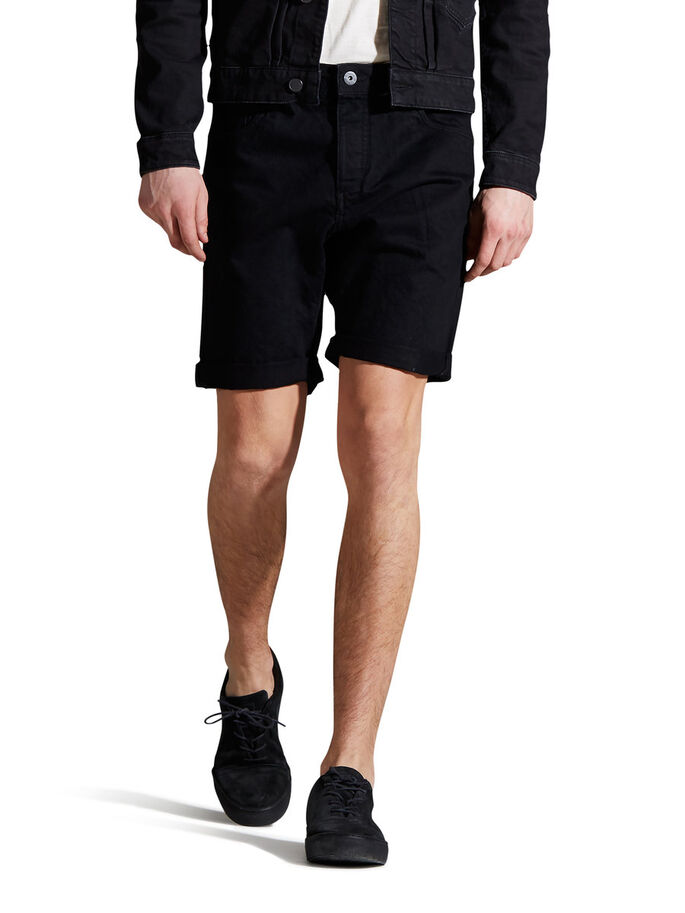 RICK ORIGINAL AKM 767 DENIM SHORT, Black Denim, large