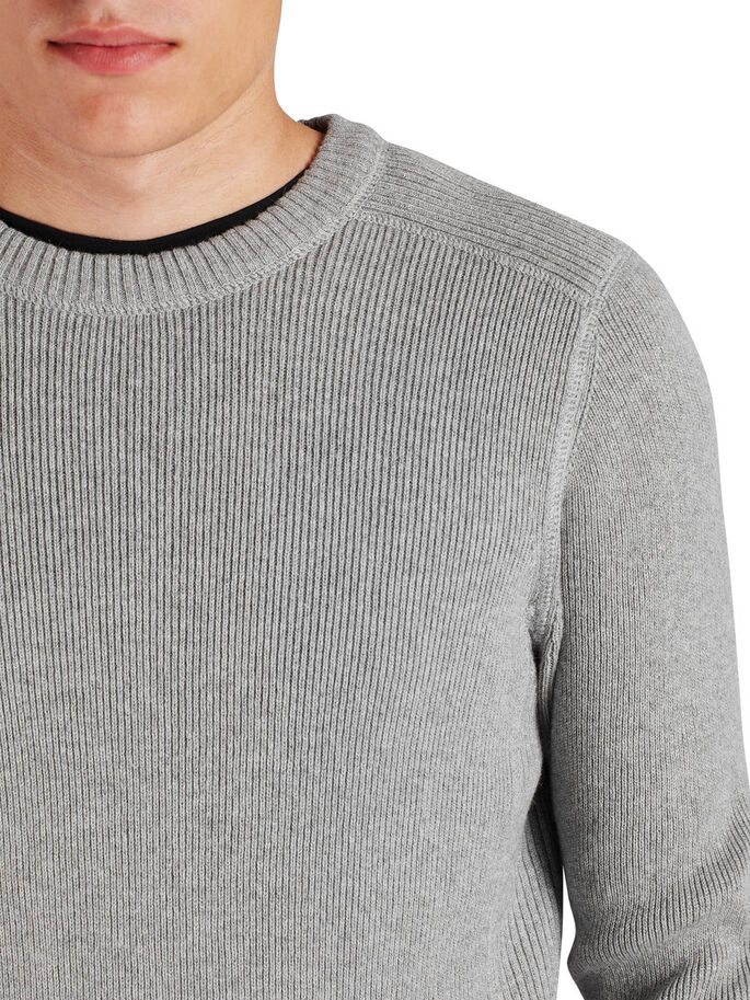 C-90 KNITTED PULLOVER, Light Grey Melange, large