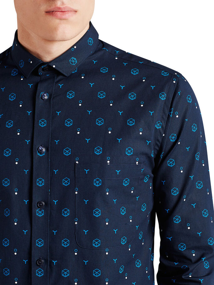 ALL-OVER PRINTED LONG SLEEVED SHIRT, Navy Blazer, large