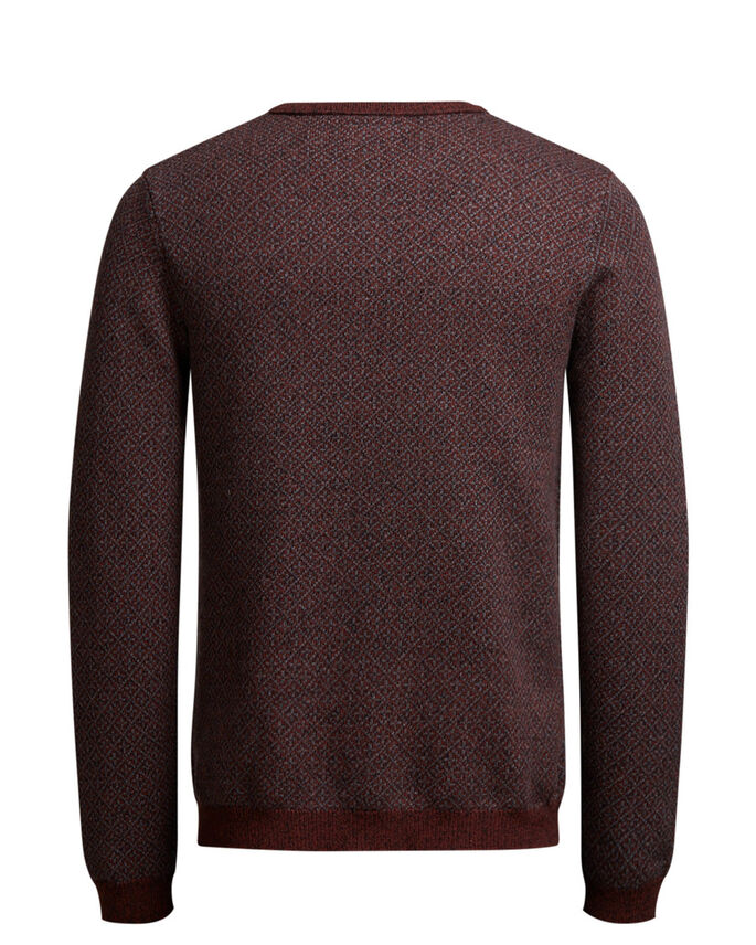 JACQUARD- STRICKPULLOVER, Rum Raisin, large