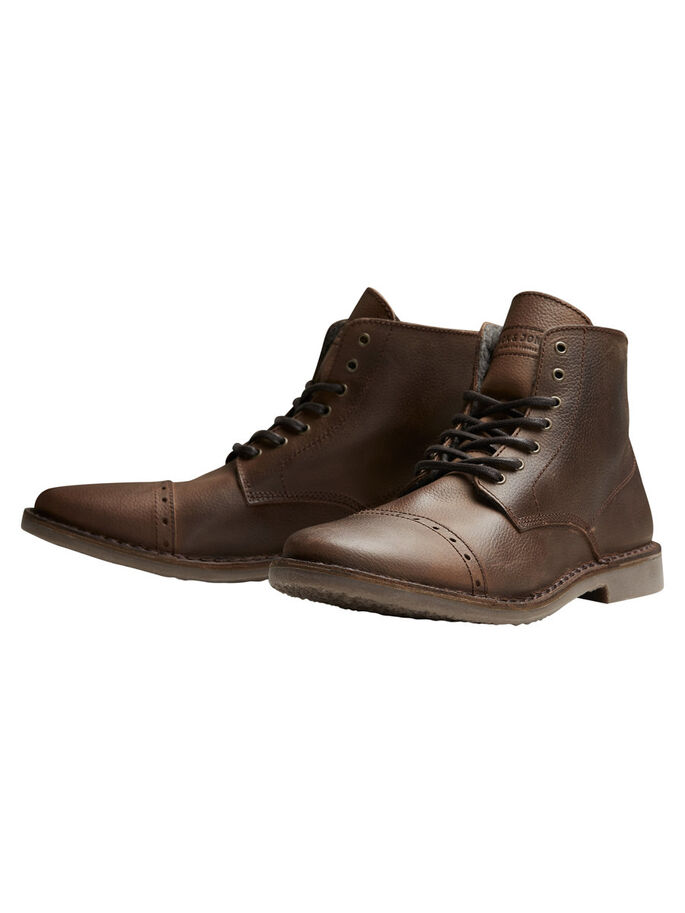 WARME LEDER- STIEFEL, Brown Stone, large